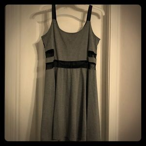H&M gray with black mesh panels dress